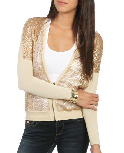 Zip Up Sequin Sweater | Shop Grunge Prep at Wet Seal
