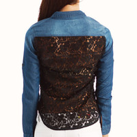 lace-back-denim-shirt DKBLUEBLK LTBLUE - GoJane.com