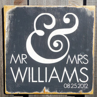 Personalized Wood Sign - Mr and Mrs Wall Decor