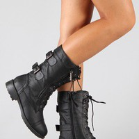 Pack-72 Military Lace Up Mid Calf Boot