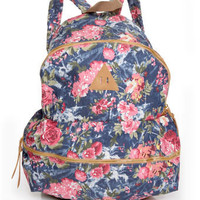 Cute Floral Print Backpack - Blue Backpack - $43.00
