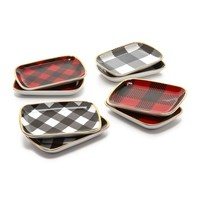 Buffalo Check Mini Appetizer Plate Set