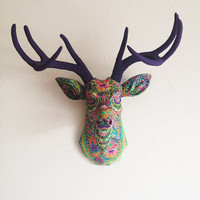 Green Paisley Deer Head Wall Mount