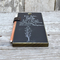 Chalkboard Tablet: Reclaimed Poplar and leather.