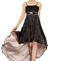 Black High Low End Evening Dress