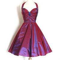 Two Tone Shot Vintage Taffeta Bustier Halterneck Dress