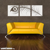 "Peacock Feather Triptych Wall Decal 60"" x 19"" - Vinyl Wall Art Decal Sticker"