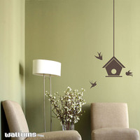 "Bird house with Swallows Wall Decal - 11"" x 36"" -"