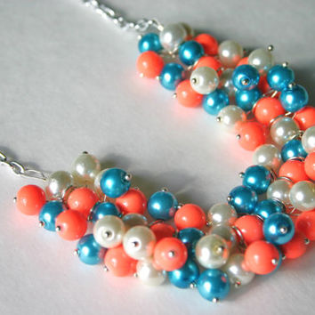 The Mary Beth - Lilly Pulizer Style Cluster Pearl Necklace - White Turquoise & Neon Orange