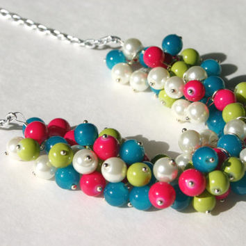The Florence - Lilly Pulitzer Style Pearl Cluster Necklace - Glass & Acrylic Beads