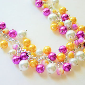 SALE! Purple + Yellow Cluster Necklace