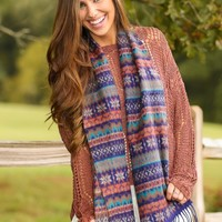 Turn Over A New Leaf Scarf-Navy