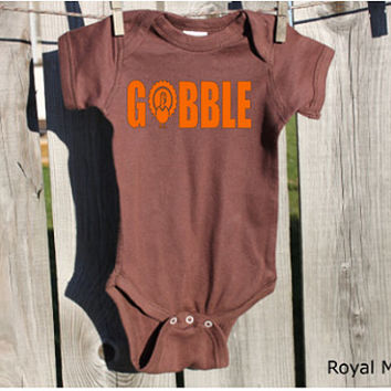 Gobble Thanksgiving Baby Bodysuit, Baby's 1st Thanksgiving, Thanksgiving Baby
