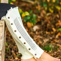 GRACE & LACE:The Nellie Knit Leg Warmers-Ivory