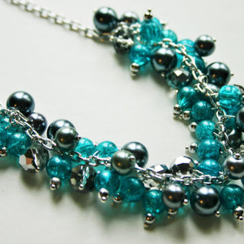 The ZeeTee - Gray, Silver, & Turquoise Cluster Necklace
