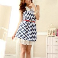 Tokyo Fashion Navy Girl Blue Sleeveless Dress