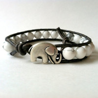 Elephant Leather Wrap Bracelet -  Good Luck Elephant Button -White Howlite