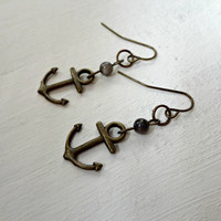 Anchor Earrings - Antique Bronze with Blue Pearl