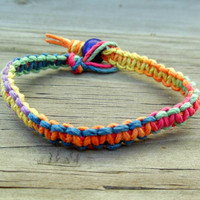 Rainbow Hemp Bracelet Macrame Square Knot MADE TO ORDER