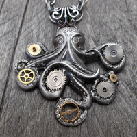 Steampunk Clockpunk Silver Cthulhu Octopus Pendant Necklace with Watch Gears & Gems on Cable Link Chain