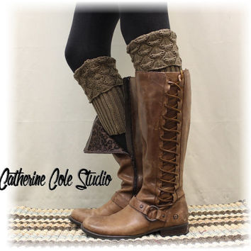 SPICE SCALLOP Nutmeg Boot cuffs boot toppers mini leg warmers ladies crochet boot cuffs knit boot cuffs womens Catherine Cole Studio BC2