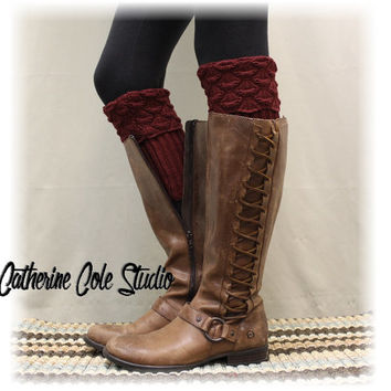 SPICE SCALLOP Paprika Boot cuffs boot toppers mini leg warmers ladies boot cuffs crochet knit boot cuffs womens Catherine Cole Studio BC2