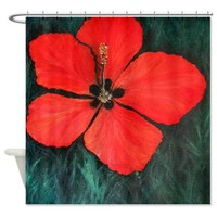 Red Red Red Hibiscus Shower Curtain