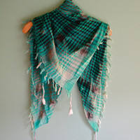 Bleached ombre green plaid scarf ONE OF A KIND