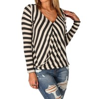 Ivory Stripe Surplice Top