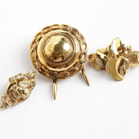 Sale - Antique Gold Filled Brooch Lot - Victorian Early to Edwardian Lot of 3 Puffy, Hollow Repousse Leaf, Flower, Tassel Jewelry Pins