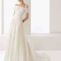 Classical A-Line Off-The-Shoulder Floor-Length Chapel Train Satin White Wedding Dress