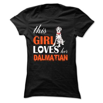 This girl loves her Dalmatian