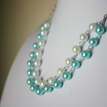 White & Tiffany Blue ~ Double Strand Pearl Necklace for Bridesmaid or Brides - Wedding Bridal Jewelry