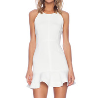 Shakuhachi Foam Flare Skirt Dress in Optic White
