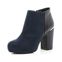 Navy block heel ankle boots - ankle boots - shoes / boots - women