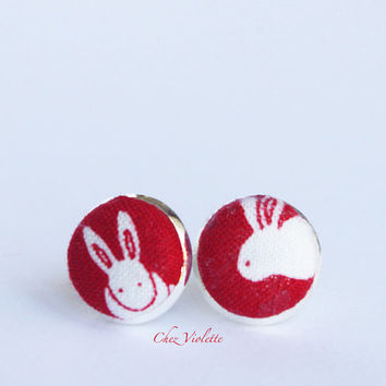 Bunny stud earrings, red white fabric post, Tiny earrings stud - small earring studs kawaii