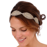 125 - Calista Headband - Oval Rhinestone Beaded Headband or Halo, wedding head piece, bohemian, crystal headband, vintage