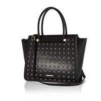 Black studded tote bag