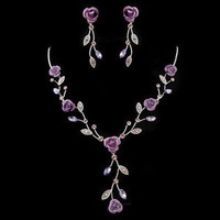 Gorgeous Flower Branch Shaped Alloy with Purple Rhinestone Wedding Jewelry Set -(Including Necklace and Earring)