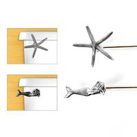 STARFISH & MERMAID TOILET HANDLES | Pewter Sea Creature And Starfish Flusher | UncommonGoods