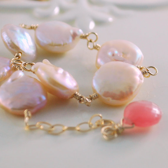 Peach Coin Pearl Bracelet Genuine Freshwater Wire Wrapped Gold Jewelry Rhodochrosite Gemstone Complimentary Shipping