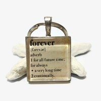 Forever dictionary meaning inch square glass tile keychain unisex gift
