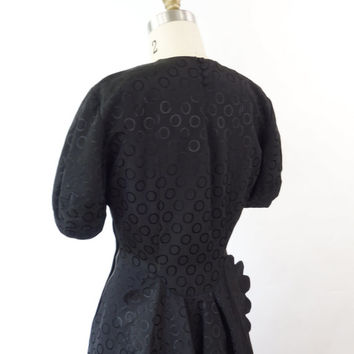 VINTAGE 1940s Black Dress Sheer Scallop Dots Small