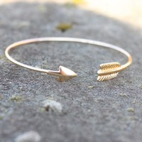 Metal Arrow Cuff - Gold - Bracelets - Jewelry