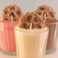 Milk and Cookies Candle Gift Set Strawberry Chocolate and Vanilla Made with Soy Wax