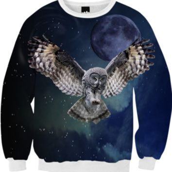 Owl and Blue Moon Fall Sweatshirt created by ErikaKaisersot | Print All Over Me