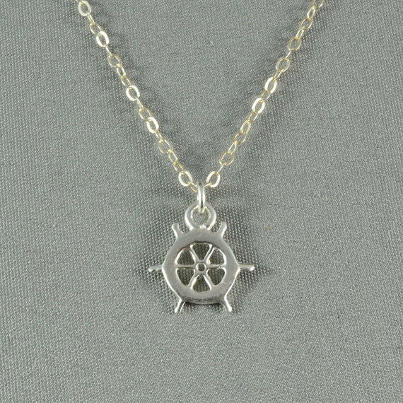 Tiny Ship Wheel Necklace, 925 Sterling Silver Chain, Modern, Simple, Cute, Everyday Wear Jewelry