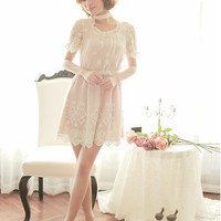 Women Lace Flower Round Neck Short Sleeve Embroidery Bow Tie Beige Fitting Dress S/M/L@MF9873 - $37.96 : DressLoves.com.
