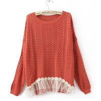 Red Long Sleeve Contrast Lace Hem Open Mesh Stitch Sweater$40.00