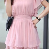 Pink Ruffle Short Sleeve Elastic Waist Pleated Chiffon Dress - Sheinside.com